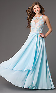 Image of floor length sleeveless illusion sweetheart lace bodice dress Style: DQ-8871 Front Image