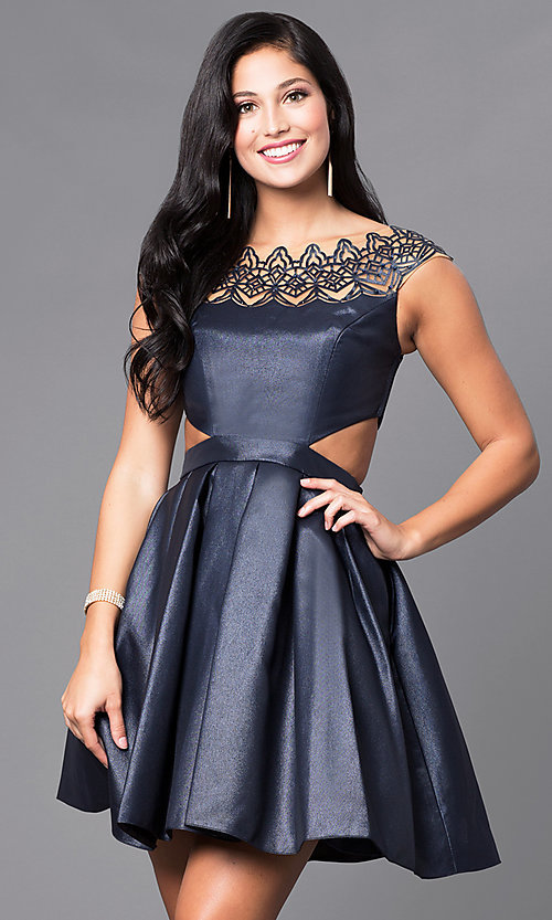 Image of cap-sleeve cocktail party dress by Sherri Hill. Style: SH-9756 Detail Image 2