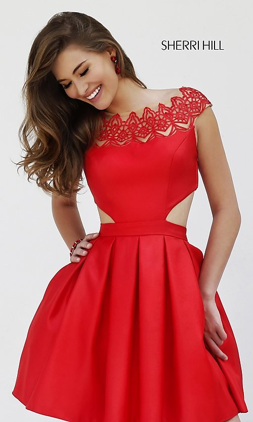 Image of cap-sleeve cocktail party dress by Sherri Hill. Style: SH-9756 Front Image