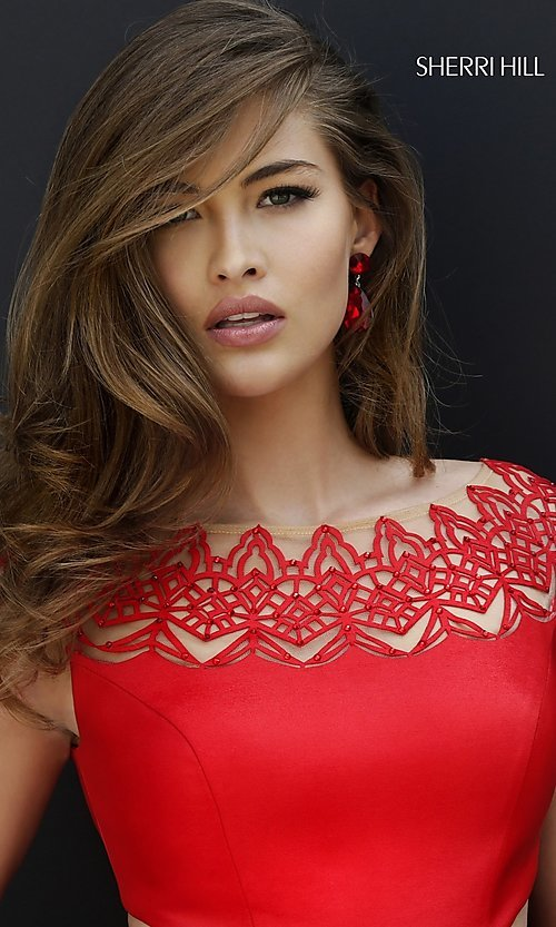Image of cap-sleeve cocktail party dress by Sherri Hill. Style: SH-9756 Detail Image 1