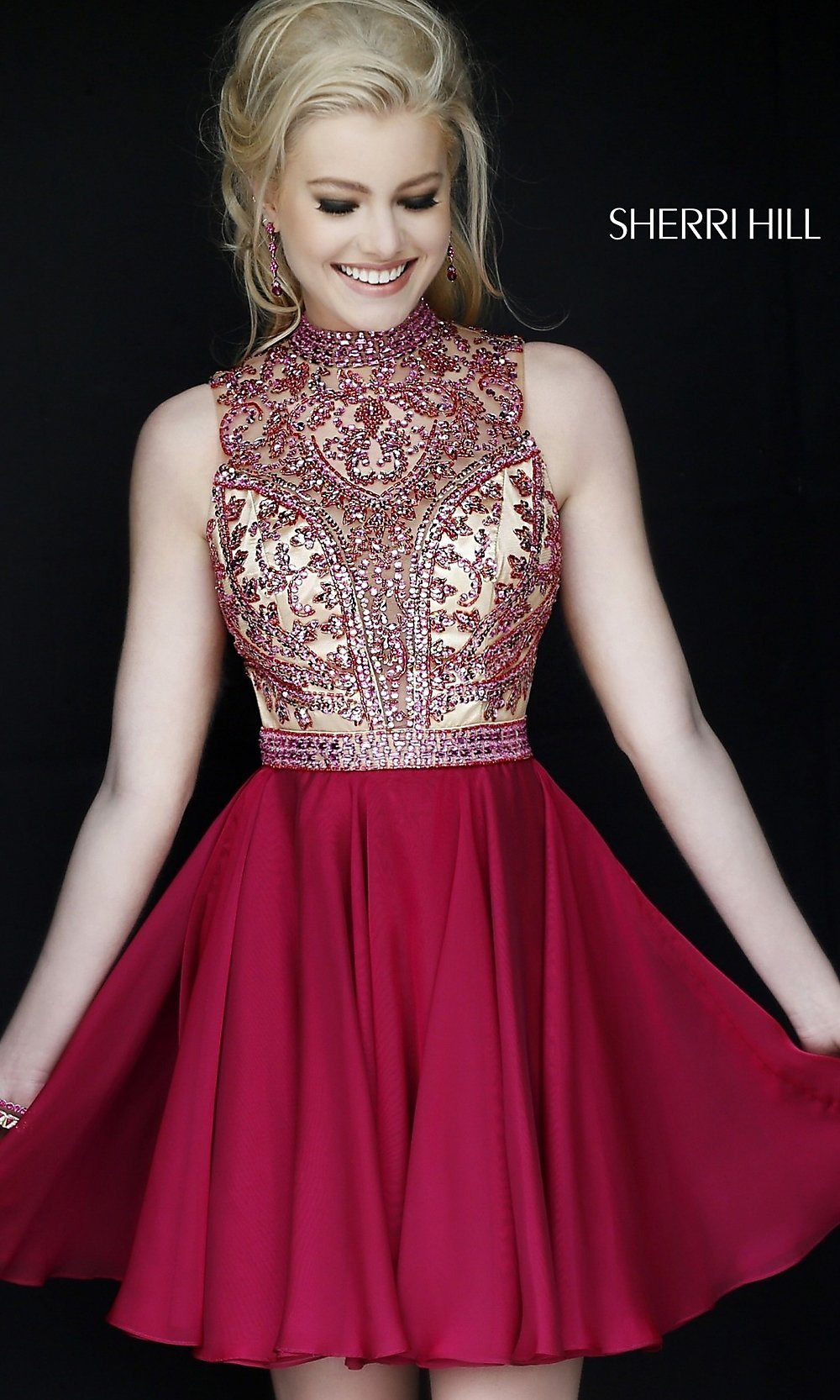 Short High Neck Fit and Flare Dress- PromGirl