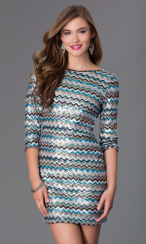 Image of short sequin 3/4 sleeve cocktail dress Style: AS-I410521J5 Front Image
