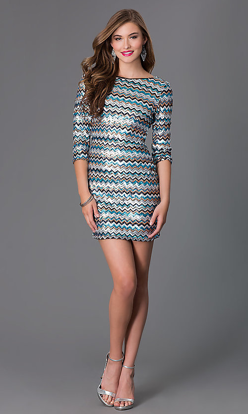 Image of short sequin 3/4 sleeve cocktail dress Style: AS-I410521J5 Detail Image 1