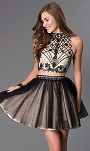 Image of short mock two-piece high-neck Dave and Johnny dress  Style: DJ-2179 Front Image