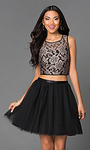 Image of short A-line two piece lace bodice tulle skirt sleeveless dress Style: EM-EFN-2215-030 Front Image