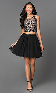 Image of short A-line two piece lace bodice tulle skirt sleeveless dress Style: EM-EFN-2215-030 Detail Image 1