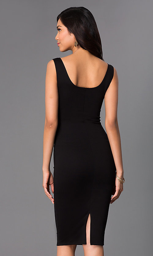 Image of sleeveless midi bodycon wedding-guests dress. Style: CH-2570 Back Image