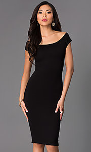 Image of off-the-shoulder midi sheath party dress. Style: CH-2569 Front Image