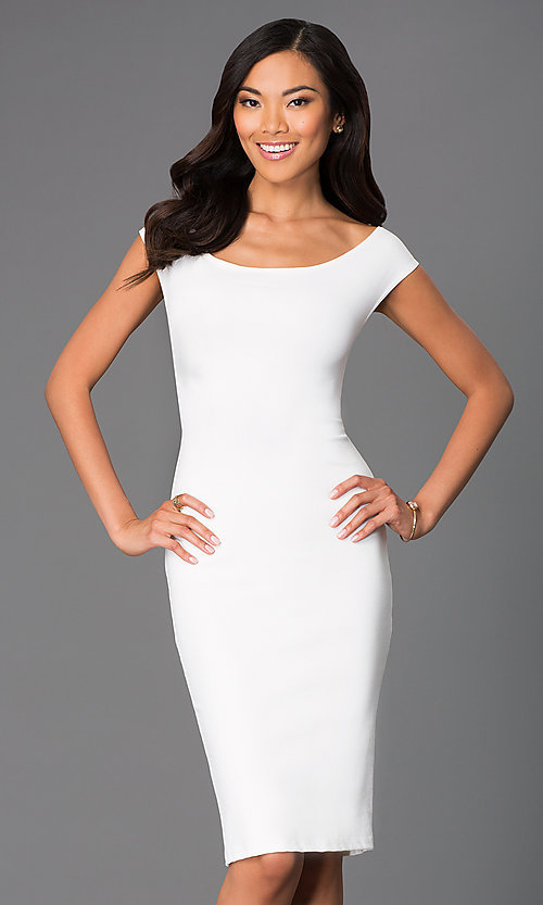 Image of off-the-shoulder midi sheath party dress. Style: CH-2569 Detail Image 2
