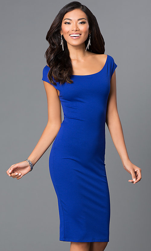 Image of off-the-shoulder midi sheath party dress. Style: CH-2569 Detail Image 3