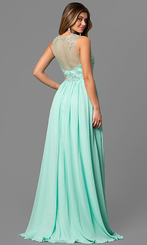 Image of long sheer beaded illusion bodice sleeveless gown Style: CD-GL-G411 Back Image