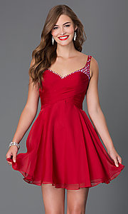 Image of short jewel embellished ruched bodice sweetheart dress Style: AL-4414 Front Image