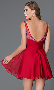 Image of short jewel embellished ruched bodice sweetheart dress Style: AL-4414 Back Image