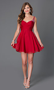 Image of short jewel embellished ruched bodice sweetheart dress Style: AL-4414 Detail Image 1