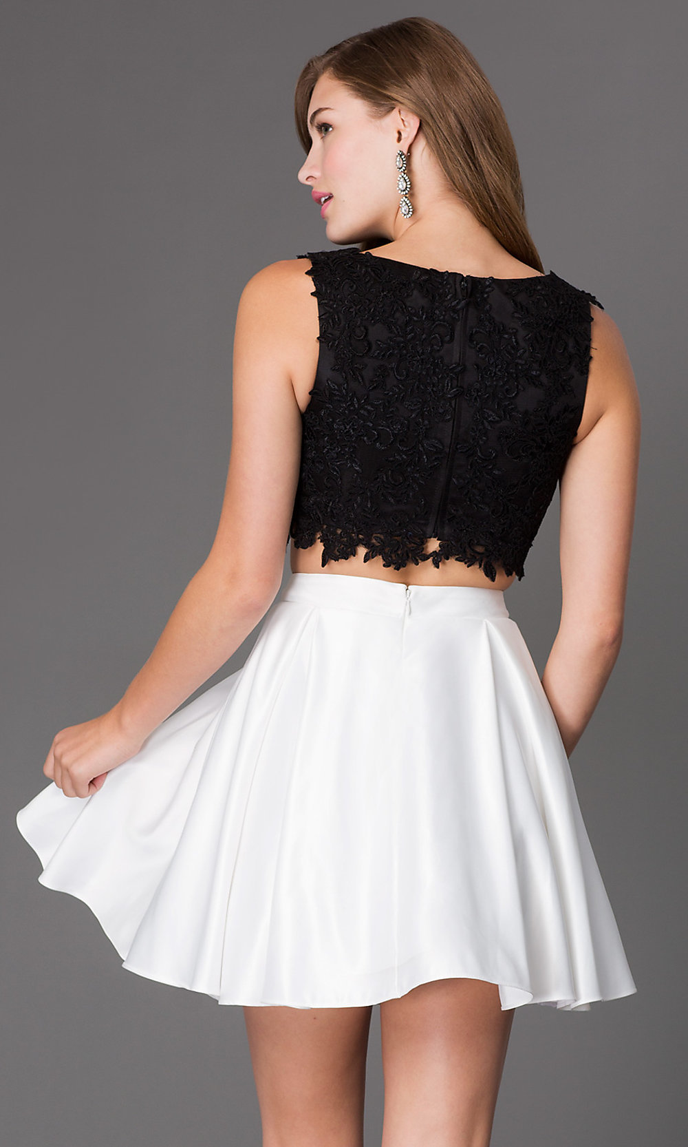 Short Two Piece Lace Bodice Dress Promgirl