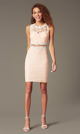 Sheer Lace Cocktail Dress 9099