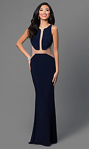 Image of Dave and Johnny long prom dress with cut outs. Style: DJ-1849 Front Image