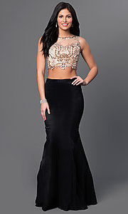 Image of two piece beaded illusion top black skirt mermaid dress  Style: DJ-2622 Front Image