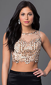 Image of two piece beaded illusion top black skirt mermaid dress  Style: DJ-2622 Detail Image 1