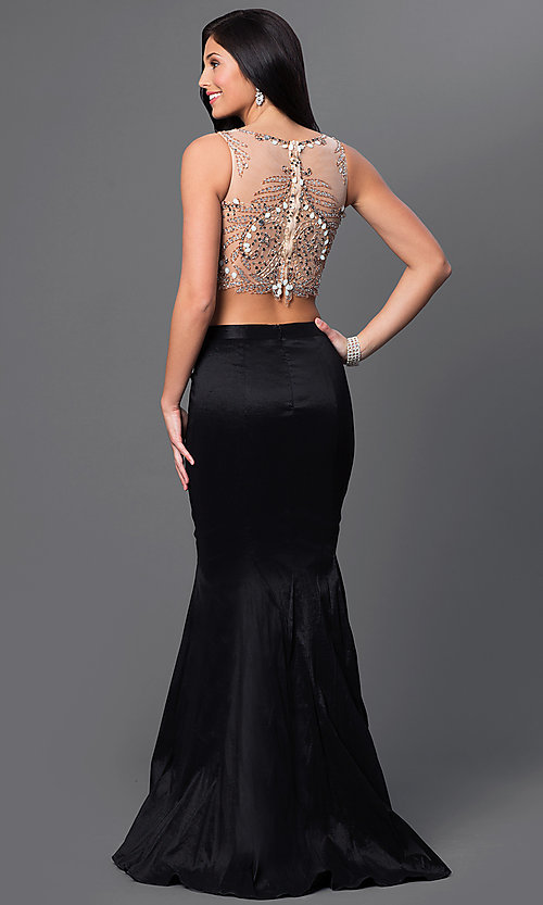 Image of two piece beaded illusion top black skirt mermaid dress  Style: DJ-2622 Back Image