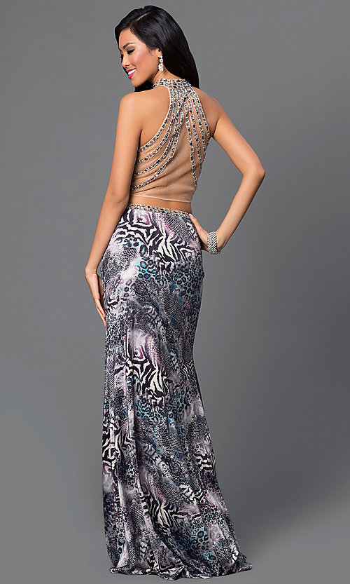 Image of two-piece animal-print Dave and Johnny prom dress.  Style: DJ-2304 Back Image