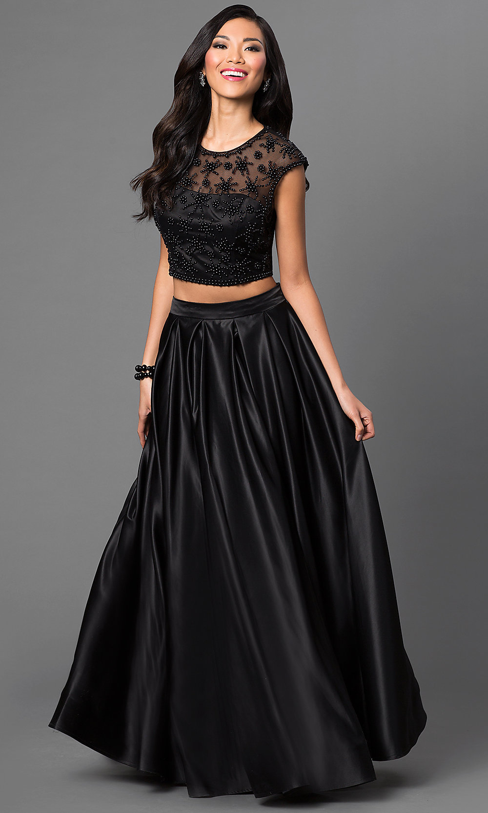 Cap Sleeve Two Piece Beaded Ball Gown - PromGirl