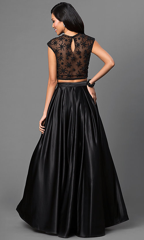 Image of floor length cap sleeve two piece ball gown with beaded bodice Style: DJ-1796 Back Image