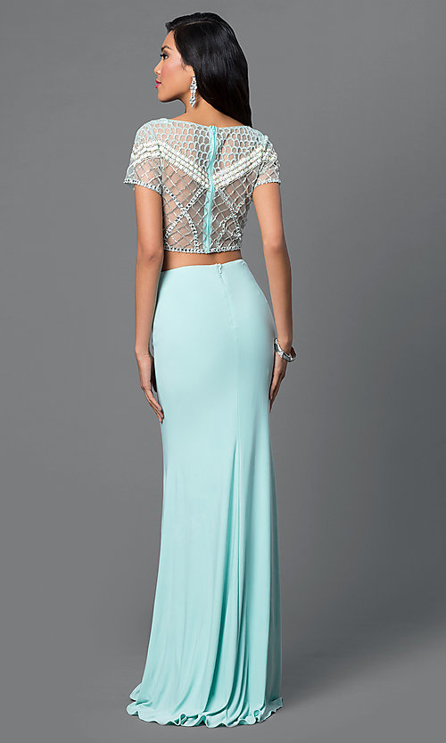 Image of two-piece aqua blue Dave and Johnny prom dress. Style: DJ-1998 Back Image