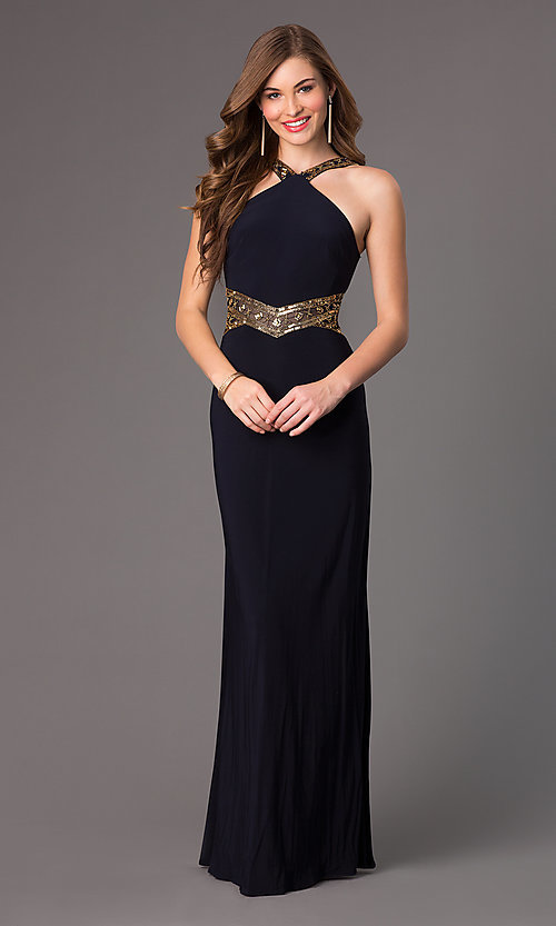 Image of long sleeveless sequin detailed navy blue dress Style: BA-A15619 Front Image