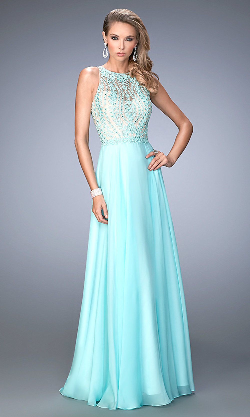 Mori Lee Prom 99050 - Long High Neck with Beaded