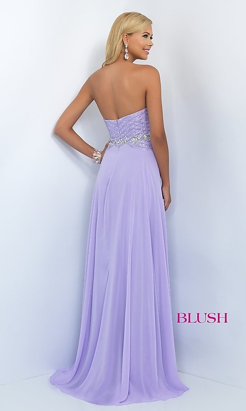 Image of long strapless sweetheart dress with beaded bodice. Style: BL-11070 Back Image