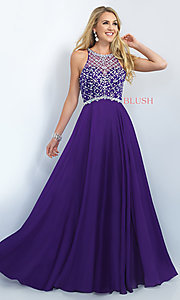 Image of long illusion-back beaded prom dress by Blush. Style: BL-11071 Front Image