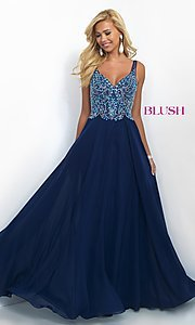 Image of long classic v-neck Blush prom dress Style: BL-11058 Front Image