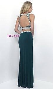 Image of glamorous two-piece Blush prom dress with slit. Style: BL-11065 Back Image