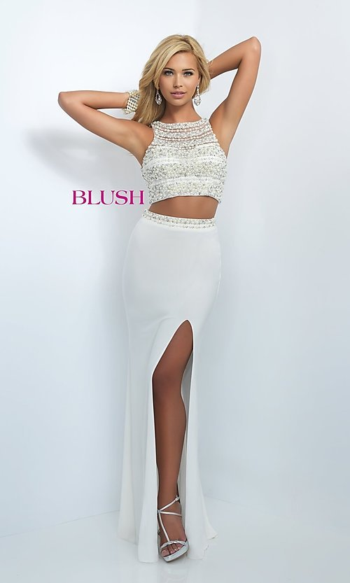 Image of glamorous two-piece Blush prom dress with slit. Style: BL-11065 Front Image