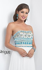 Image of iNtrigue by Blush long white prom dress with beads. Style: BL-IN-161 Detail Image 1