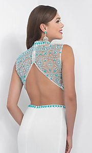 Image of white and turquoise two-piece designer prom dress. Style: BL-IN-170 Detail Image 2