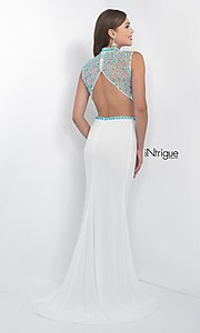 Image of white and turquoise two-piece designer prom dress. Style: BL-IN-170 Back Image