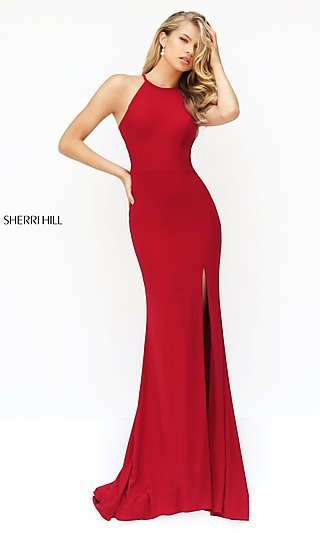 Sherri Hill Long Sleeveless Prom Dress with Open Back