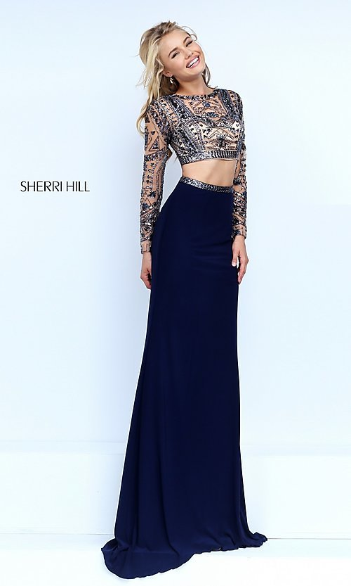 Image of two-piece long sleeve beaded top floor-length dress Style: SH-50097 Front Image