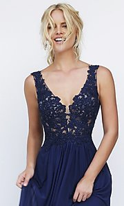 Image of long v-neck embroidered bodice gown  Style: SH-50255 Detail Image 1