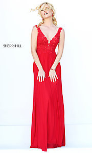 Image of long v-neck embroidered bodice gown  Style: SH-50255 Detail Image 3