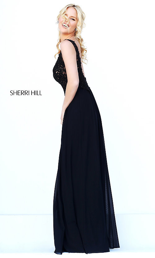 Image of long v-neck embroidered bodice gown  Style: SH-50255 Back Image