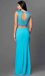Image of long turquoise blue two-piece beaded prom dress. Style: DJ-2298 Back Image