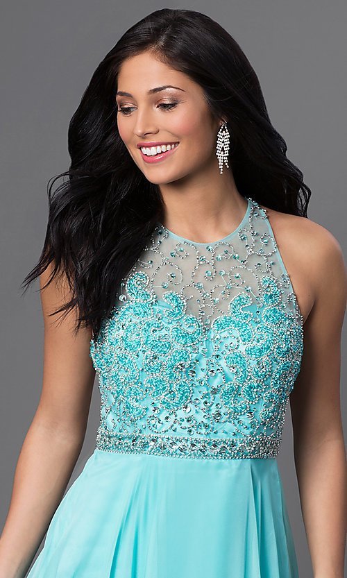 Image of long aqua formal prom dress with beaded bodice. Style: DJ-2435 Detail Image 1