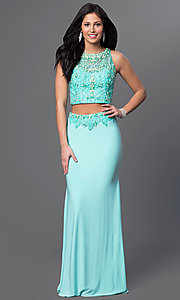 Image of Dave and Johnny long aqua two-piece prom dress. Style: DJ-2499 Front Image