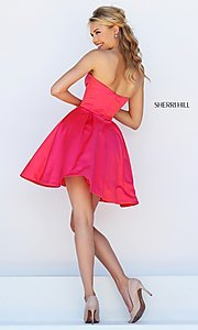 Image of short satin fit and flare sweetheart dress Style: SH-50228 Back Image