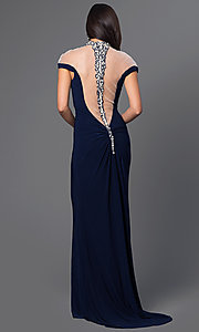 Image of illusion-off-shoulder high-neck prom dress in navy. Style: MF-E1885 Back Image