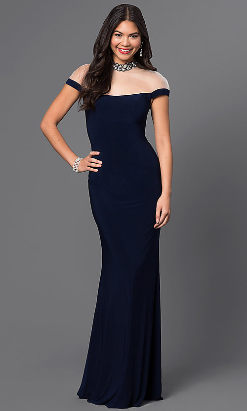 Image of illusion-off-shoulder high-neck prom dress in navy. Style: MF-E1885 Front Image