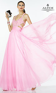 Image of long V-neck open-back prom dress with cut-outs. Style: AL-35766 Front Image
